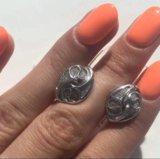 Серьги с алмазной крошкой. серебро 925. Фото 1.