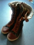 Ботинки next, демисезонные, высокие, с мехом. Фото 1.