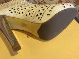 Новые кожа полусапожки с открытом мысом moda donna. Фото 1.