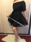 Платье шифоновое черное, с поясом, р 44-46. Фото 2.