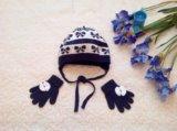 Детская шапка и перчатки для девочки на осень. Фото 1.