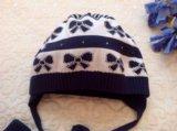 Детская шапка и перчатки для девочки на осень. Фото 2.