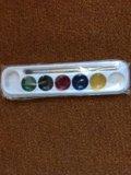 Новая акварель с кисточкой 6 цветов. Фото 1.