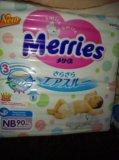 Подгузники merries newborn до 5 кг, 90шт. Фото 1.