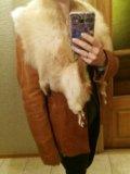 Кожаная куртка с мехом лисы. Фото 2.