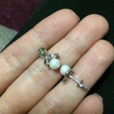 Серебрянные серьги с жемчугом +кольцо серебро. Фото 2.