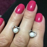 Серебрянные серьги с жемчугом +кольцо серебро. Фото 1.