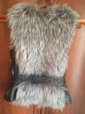 Меховая жилетка чернобурка. Фото 2.