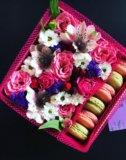 Живые цветы в подарочной упаковке. Фото 1.