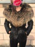 Теплая куртка пуховик натуральная кожа!мехенот. Фото 3.