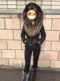 Теплая куртка пуховик натуральная кожа!мехенот. Фото 4.