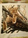 Картина вышитая крестиком шерстью гепард. Фото 1.