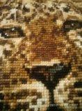 Картина вышитая крестиком шерстью гепард. Фото 4.