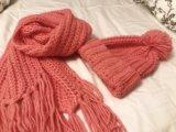 Шапка и шарф befree насыщенный персиково-розовый. Фото 2.
