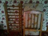 Детская кроватка с матрасом в разобраном виде . Фото 2.