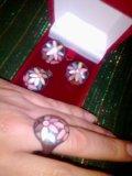Серебро комплект кольцо, подвеска, серьги. Фото 2.