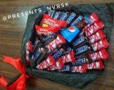Сладкий букет. букет из конфет. Фото 1.