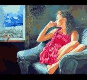 Картина по номерам девушка у окна