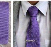 Новый фиолетовый вязанный галстук