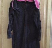 Велюровое платье (капюшон с ушками)