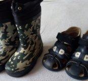 Сапоги резиновые и сандалии