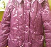 Куртка удлинённая зимняя с поясом.