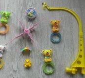 Мобиль детский+2 игрушки на коляску+машинк