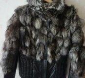 Теплая кожаная куртка с чернобуркой