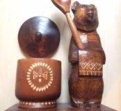 Деревянный мишка бочонок ложка СССР