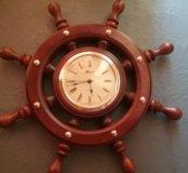 Часы на стену,штурвал сувенирный