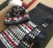 Продам комплект шапочка и шарфик зимний