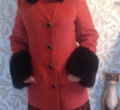 Зимнее пальто натур песец