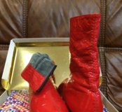 Сапоги красные кожаные