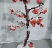 Зимняя рябина со снигирями