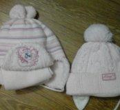 Утепленные шапочки на девочку 6-8 мес.