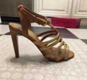 Золотые босоножки туфли Tory Burch