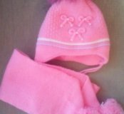 Шапка с шарфом детская