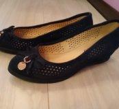 Туфли синие, замша