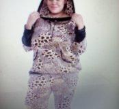 Леопардовый велюровый спортивный костюм