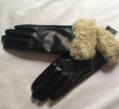 Перчатки кожзам h&m
