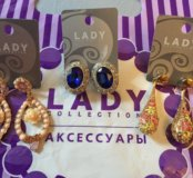 Серьги Lady Collection 3 пары + заколка