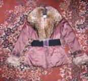 Пуховик Baon,отделка натуральный мех