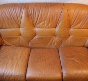 Диван кожаный + 2 кресла