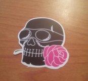 Наклейка Черепа с розой