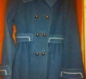 Пальто, морского цвета,приталенное.