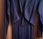 Платье трикотажное темно синего цвета