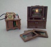 Sylvanian families телевизор и телефонный стол
