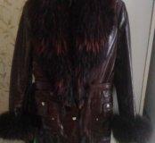 Куртка зима натуральная кожа лак