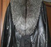 Куртка кожаная.Мех-Чернобурка.