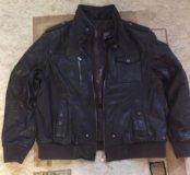 Куртка кожаная (темно коричневая)